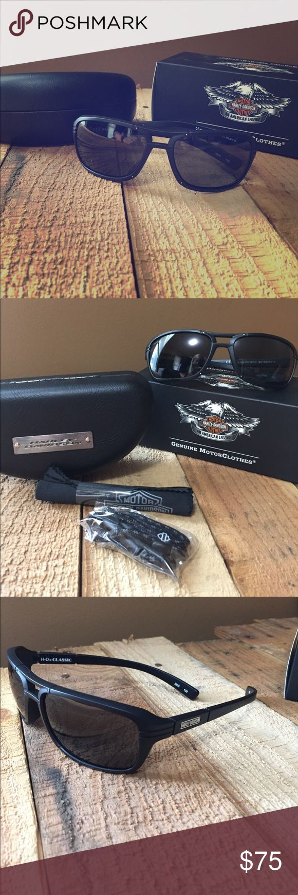Harley Davidson Classic Sunglasses New with box, wileyx brand Harley Davidson sunglasses. Comes with leather hard case, cleaning wipe, and leash cord. Style is HRCLA40. Green lens/matte black frame but lens is still dark and not bright green as seen in pictures. Only worn once and didn't like style on my face. Harley-Davidson Accessories Sunglasses