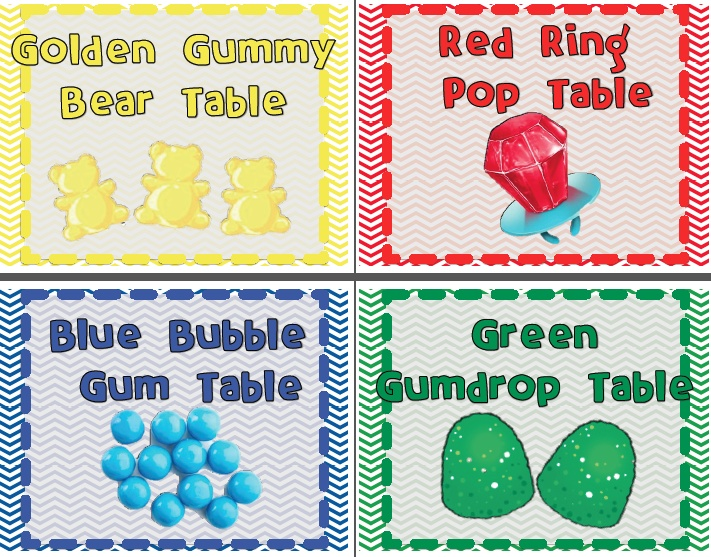 "Table Signs for Sweet Shop theme. Falling for First Grade: Preview ""The First Grade Sweet Life"""