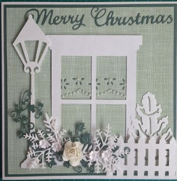 043_S14_Window, Lamp Post, Christmas Tree and Flowers with Fence. Handmade by Diane Prinsloo (Lubbe).