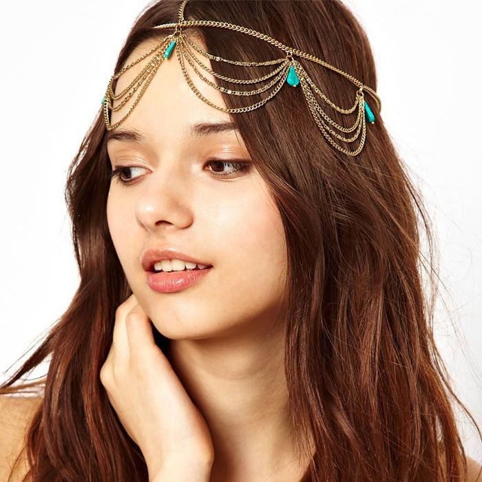 2014 Excellent Style Women Head Turquoise Chain Jewelry Headband Party
