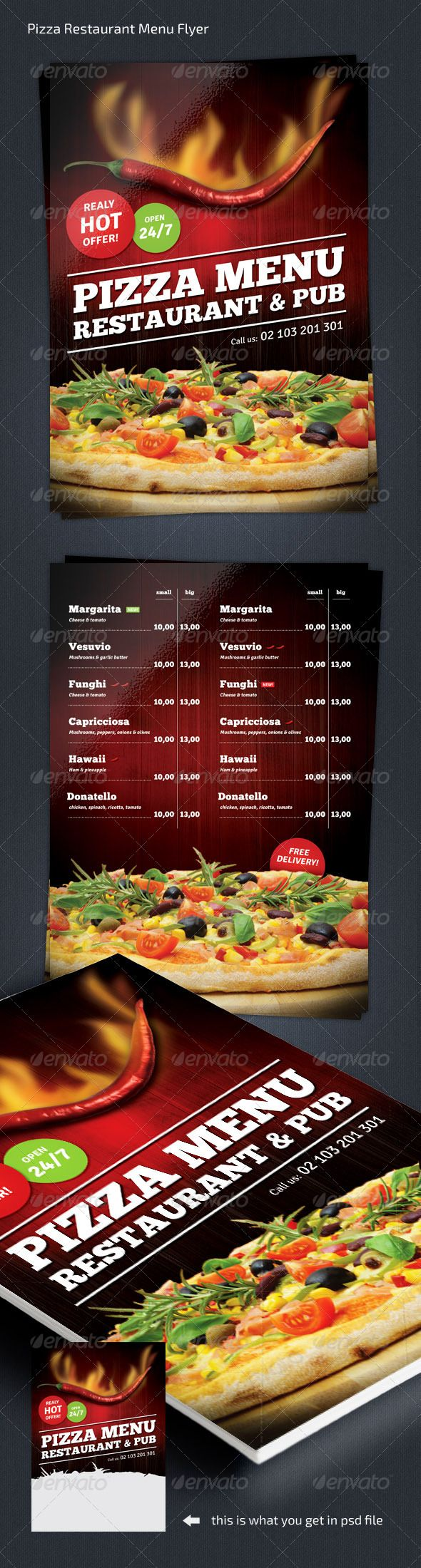Pizza Restaurant Menu Flyer Template #design Download: http://graphicriver.net/item/pizza-restaurant-menu-flyer-a4/7930122?ref=ksioks