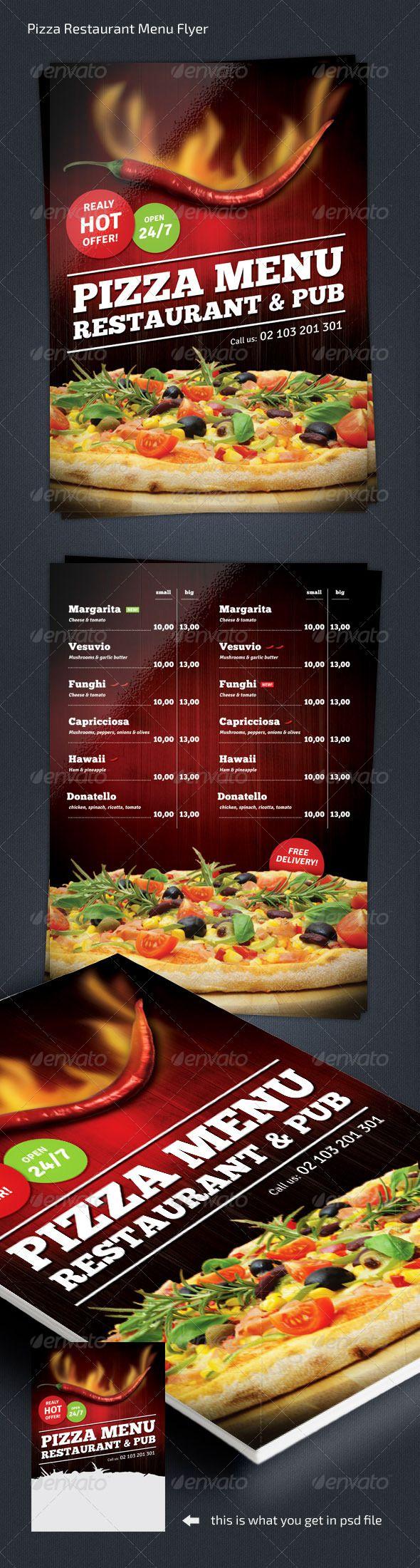 Pizza Restaurant Menu Flyer Template #design Download: http://graphicriver.net/item/pizza-restaurant-menu-flyer-a4/7930122?ref=ksioks