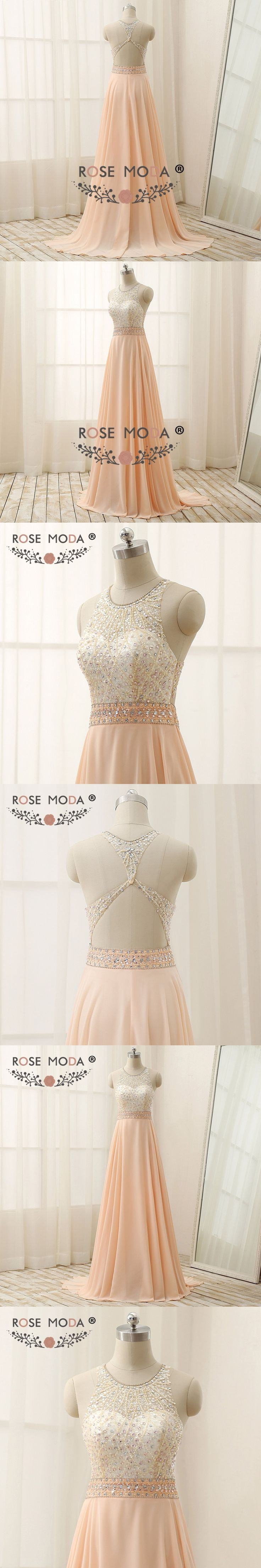 Rose Moda High Neck Peach Evening Dress Floor Length Hand Crystal Beaded Cut Out Back Formal Xmas Party Dress 2018