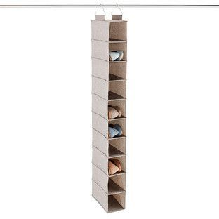 Grey 10-Compartment Hanging Shoe Organizer | The Container Store