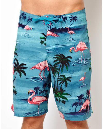 62f5f7e1350e7 Men's Blue Flamingo Boardshorts |