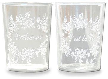 """""""L'amour C'est la Vie"""" Glass transitional cups and glassware"""