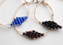 Find these Beaded Diamond Hemp Bracelets, plus plenty of other easy bracelet patterns in the Easy DIY Bracelet Designs: 14 Ways to Make Bracelets eBook!