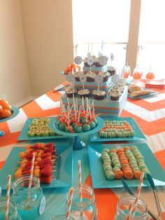 orange and blue baby shower - Google Search