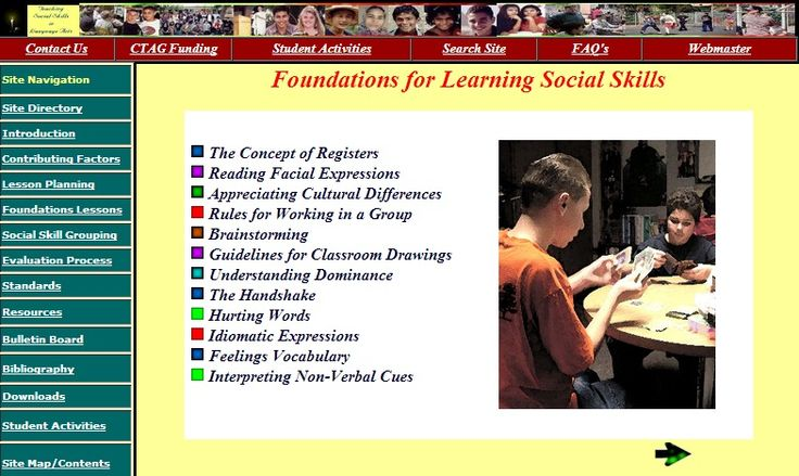 Teaching Social Skills to Middle School students - Web site provides teachers with resources to incorporate social skills training into their instruction of the language arts.