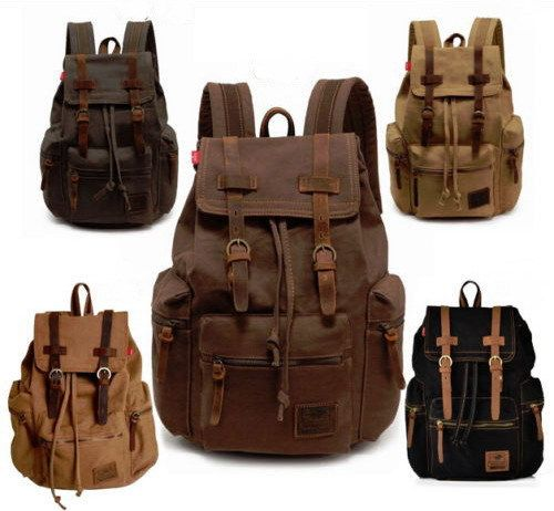 Retro Vintage Durable Travel Backpacks Casual Fashion Unisex Camping Canvas Rucksacks Men's Hiking Backpack Outdoor Daily Bags