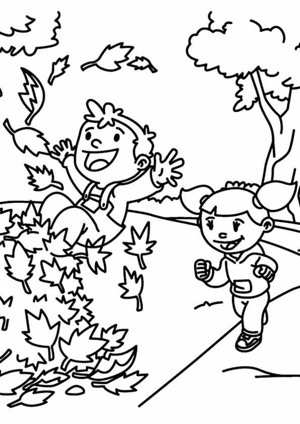playing with the fall foliage coloring pages for kids printable autumn and fall coloring pages for kids