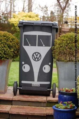 Cute Split Screen Wheelie Bin Decal With FREE Personalised Reg Plate!!