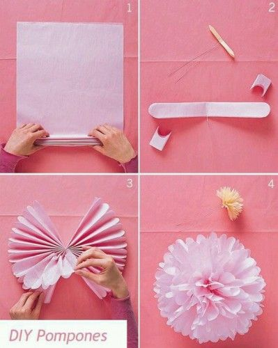 Pompons en papier de soie