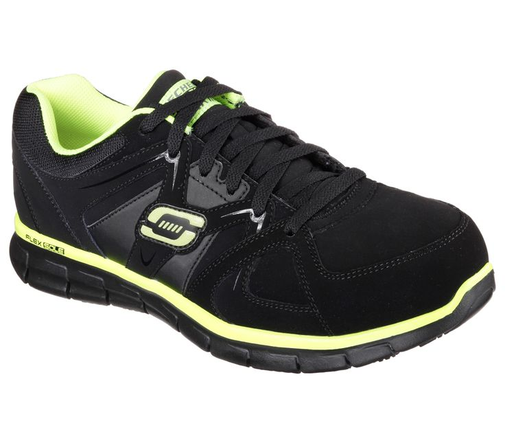 Sporty good looks, comfort and safety all mix in the SKECHERS Work Relaxed Fit®: Synergy - Ekron Alloy Toe shoe.  Smooth soft trubuck leather and synthetic upper in a lace up sporty slip resistant alloy safety toe work sneaker with stitching and overlay accents.  Memory Foam insole.