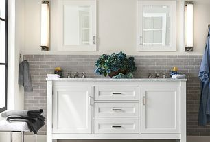 Traditional Full Bathroom with PB Classic 820-Gram Weight Washcloth, French doors, Concrete Porcelain Tile, Glass panel