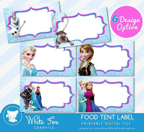 Disney Frozen Food Labels,Disney Frozen Food Tents Cards Tags, Elsa Frozen Party Printable, INSTANT DOWNLOAD