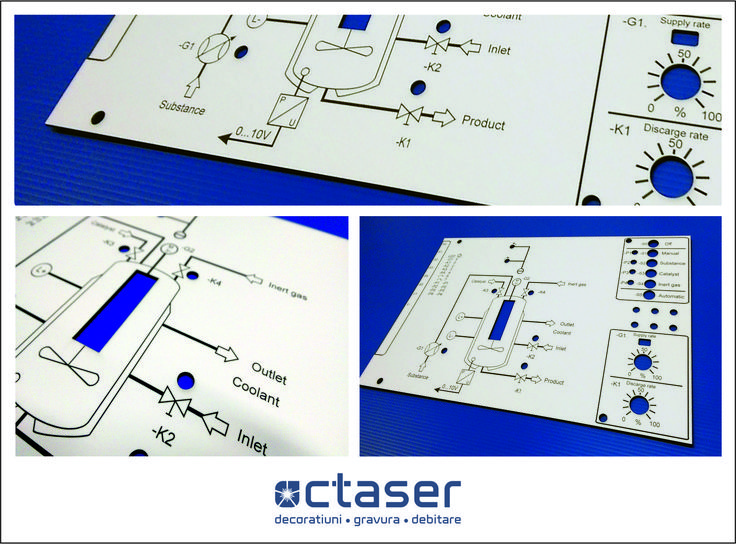Panouri de comanda confectionate din material dublustrat prin gravura si debitare laser. Putem executa orice dimensiuni.