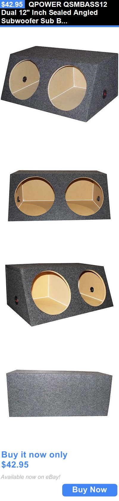 Speaker Sub Enclosures: Qpower Qsmbass12 Dual 12 Inch Sealed Angled Subwoofer Sub Box Speaker Enclosure BUY IT NOW ONLY: $42.95