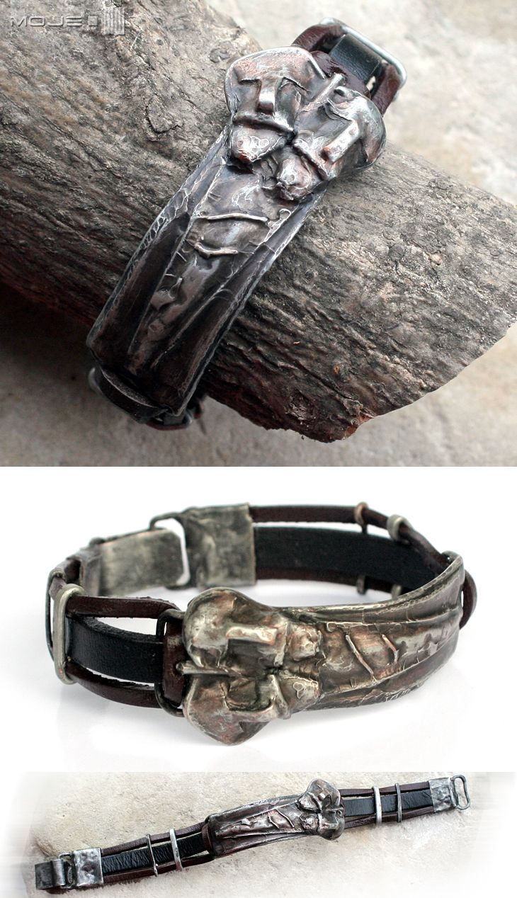 Dwa oblicza Świętowita - bransoleta męska / Two faces of Svetovid- men's bracelet. Moje MW
