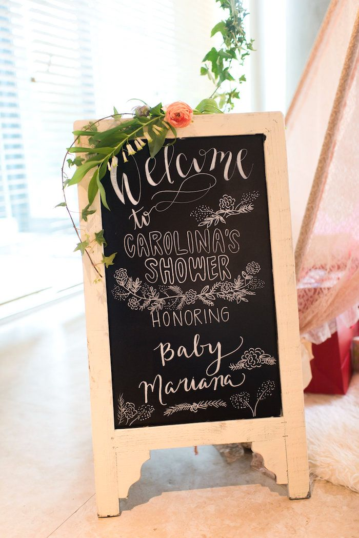 Chalkboard welcome sign from a Garden Baby Shower on Kara's Party Ideas | KarasPartyIdeas.com (25)