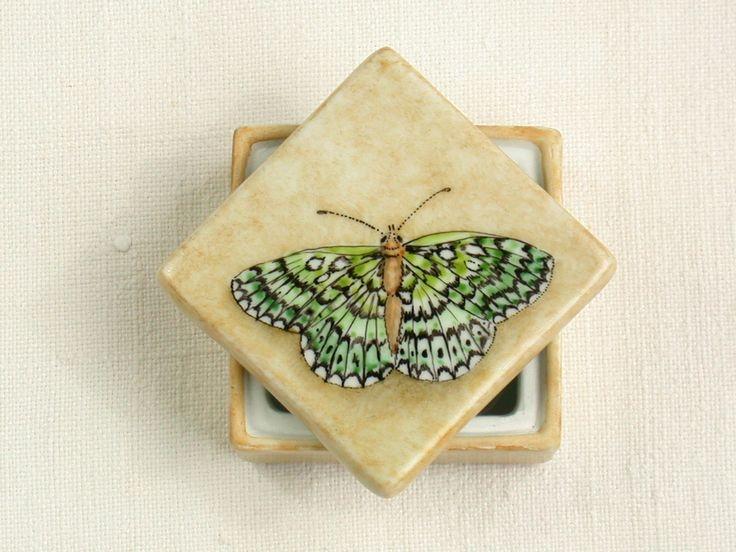 scatolina porcellana dipinta a mano farfalla verde : Arte della ceramica di madrab