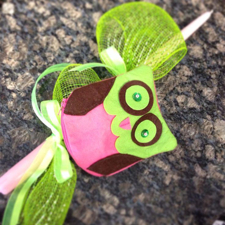 Owl purse Lambada/Easter candle for girls.