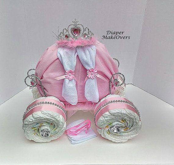 Princess Carriage - Princess Diaper Cake - Unique Baby Girl Baby Shower…