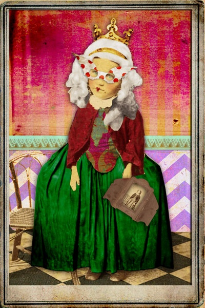 """Created for a Deviant Scrap challenge to alter an ancestor, this is my 2nd great grandmother, """"Little Lotte"""". The original photo can be seen in her hands. Copyright Amber R. Tabangay 2013, all rights reserved."""