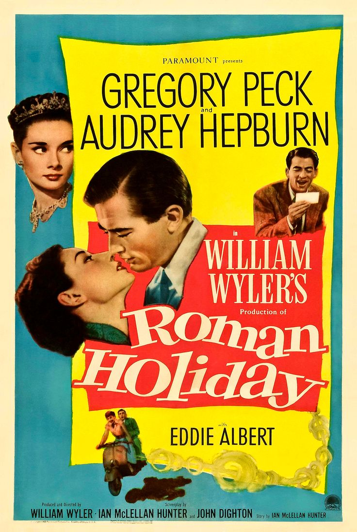 """William Wyler's """"Roman Holiday"""" (1953), starring Audrey Hepburn and Gregory Peck."""