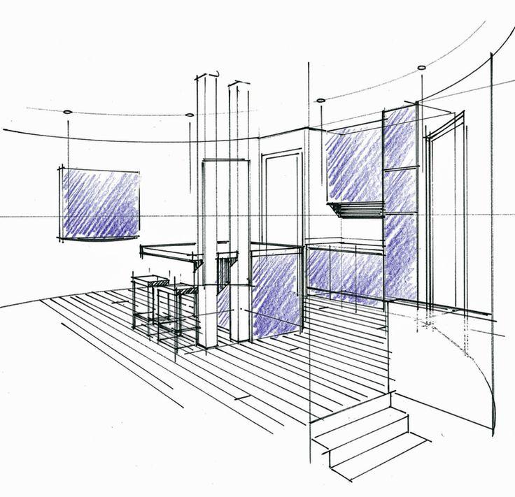 Perspective d'un concept en combles avec cuisine ouverte et satellite de distribution. Philippe Ponceblanc Architecte d'intérieur http://www.architecte-interieur.com