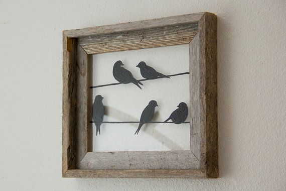 Birds on a Wire Picture Frame Bird silhouettes in by HomeFrosting