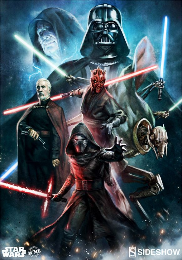 "Iconic characters from the Star Wars universe who have been lured to the Dark Side unleash their evil on the Star Wars Force of Darkness Art Print.  Artist Ian MacDonald harnessed the powers of Darkness with an 18"" x 24"" print that features some of the biggest baddies in the Star Wars universe, in"