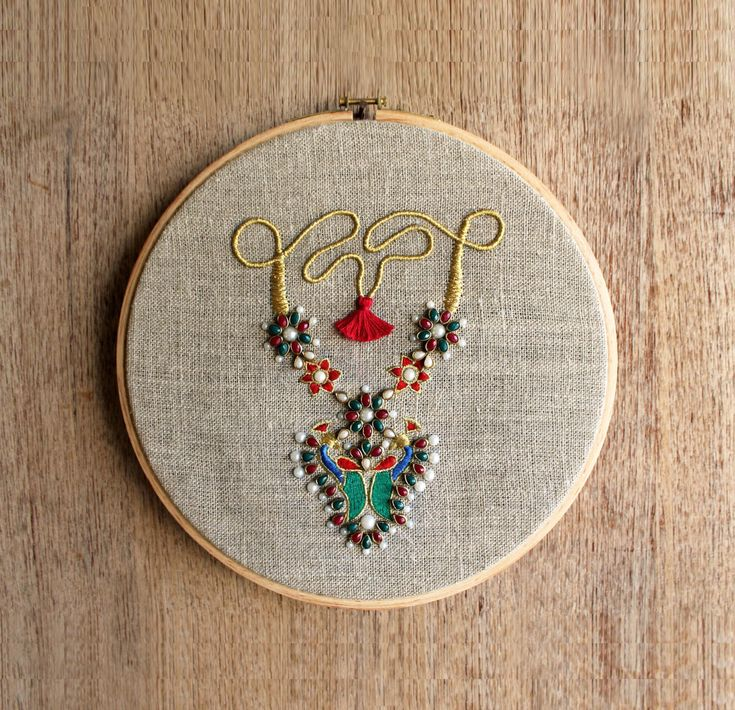 """Hoop art, Indian Jewellery, machine embroidery, linen with colors, Indian, wall art, size 10"""" by VLiving on Etsy"""