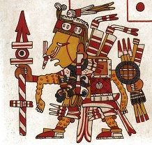 """Xipe Totec """"our lord the flayed one"""" as pictured in the codex Borgia. He's also known as Red Tezcatlipoca. His direction is east. He is a god of agriculture, life-death-birth, and fertility."""