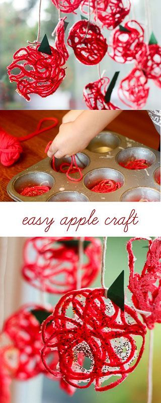 A yarn apple craft for kids to make in the fall