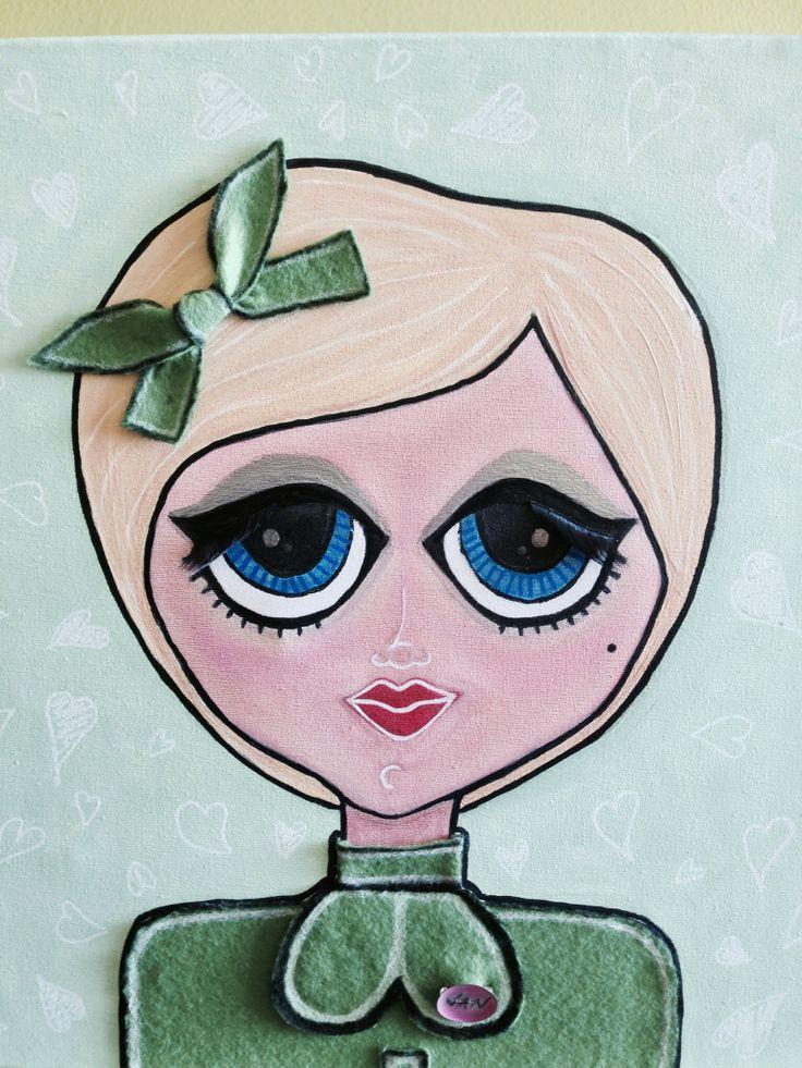 Cuadros personalizados Muñequitas pintadas en lienzo hechas con acuarelas, acrílicos, ropa, pestañas y maquilladas de verdad. Con accesorios personalizados. Cada una es especial, diferente e única