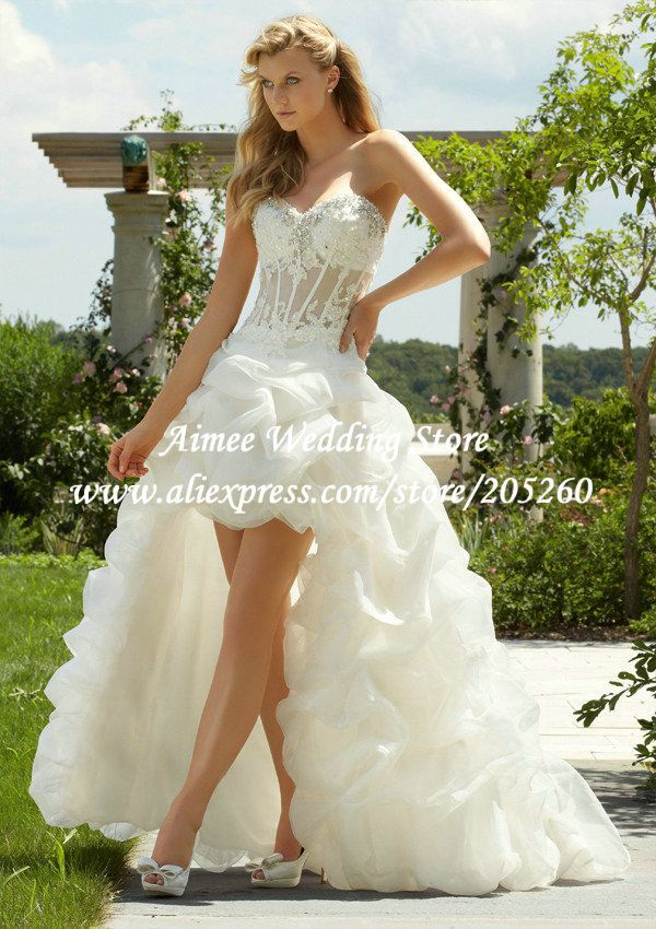 Short Country Lace Wedding Dresses | Hot Sale Discout EU4041 Elegant Strapless Lace Wedding Dresses Country ...
