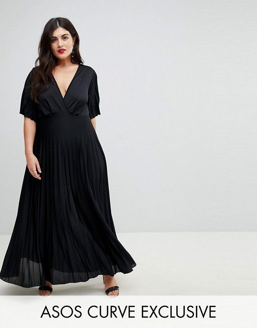757bb9eb5e4 DESIGN Curve kimono pleated maxi dress in 2019