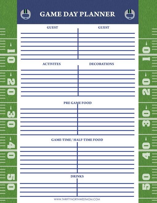 Free Seahawks Printable Game Day Planner