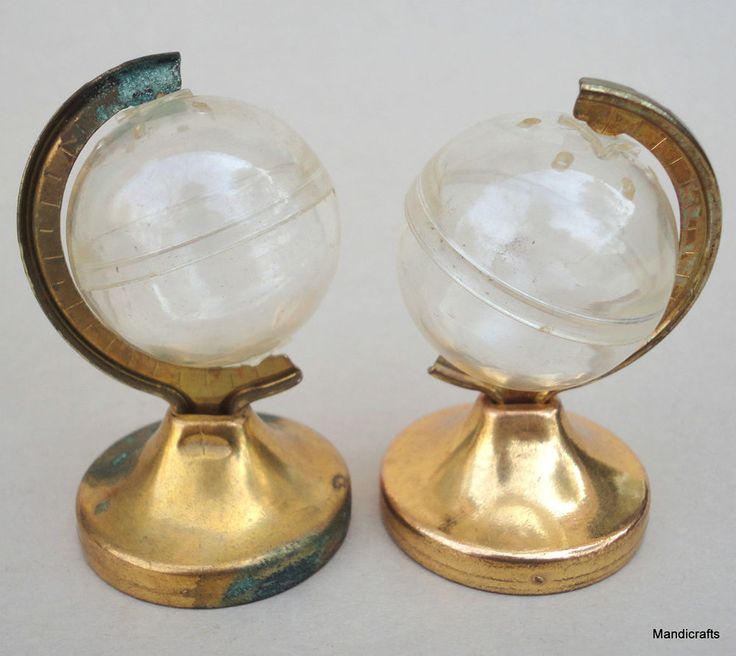#Salt & Pepper #Shakers World Globe Clear Plastic on Brass Stands Vintage Atlas Map