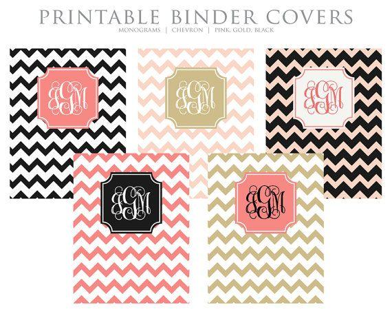 INSTANT DOWNLOAD - Printable Binder Covers - Monogram Chevron - Pink, Gold, Black