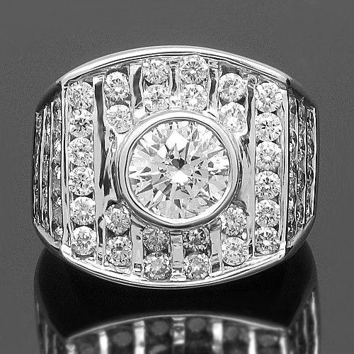 diamond pinky rings for men | Home / Rings / 14K White Solid Gold Mens Diamond Pinky Ring 6.05 Ctw