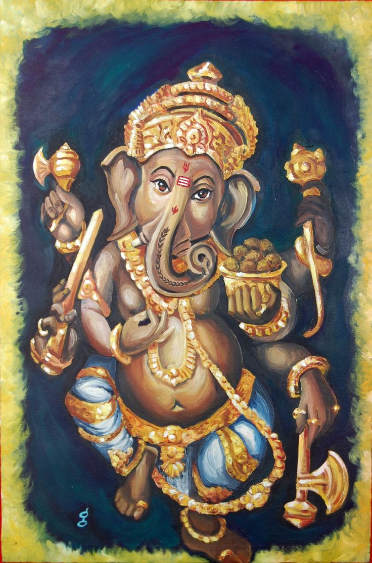 """This painting is of Gyana Geetha """"The lord of beginnings brings energy, prosperity and enthusiasm along with his divine grace"""" this piece was created in 2009 and is titled """"Dancing Ganesh"""" it is a religious painting and is currently owned by Indian Art Ideas.com"""