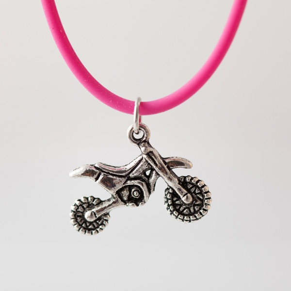 Hot Pink Dirt Bike Jewelry, Off Road Jewelry, Dirtbike Earrings, GunmetalGems