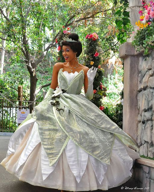 Princess Tiana  Honestly think her dress is one of the coolest ones.