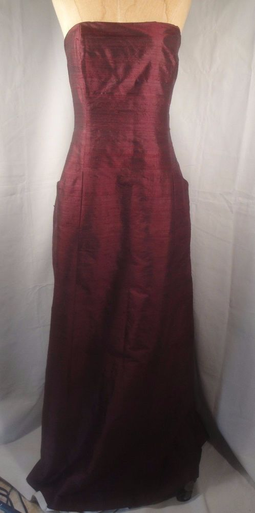 SHOSHANNA 100% Raw Silk Long Strapless Bridesmaids Formal Dress Gown Size 12 #Shoshanna #Gown #Formal
