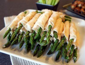 Creamy Asparagus Rollups - simple, elegant, appetizers. I use chive & onion cream cheese and then flatten white/wheat sandwich bread with a rolling pin, cut off the crust and wrap the asparagus/turkey, then top with melted butter, salt & pepper and bake for a nice warm appetizer. Kick it up a notch !