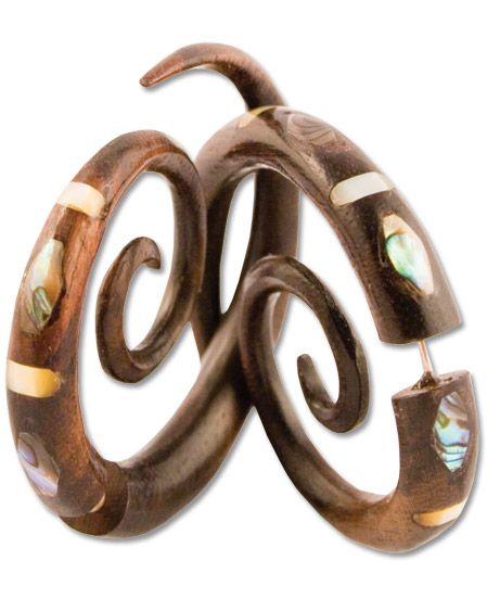 soul-flower.com: Swirls Inlay, Gauges Earrings, Inlay Earrings, Mothers, Clothing, Soul Flowing Online, Fake Gauges, Online Stores, Soul Flowers Com