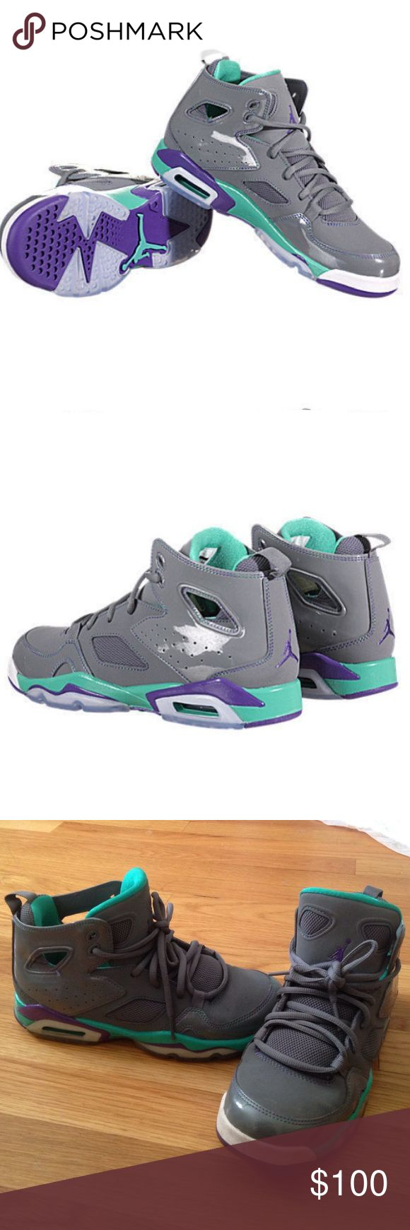 Nike air Jordan flight club 91 grey violet teal Adorable Nike air Jordans!! Grey/ultra violet/atomic teal colors. Great condition only worn a few times. Size 5 youth which is the same fit as 7 women's OFFERS WELCOME Nike Shoes Sneakers