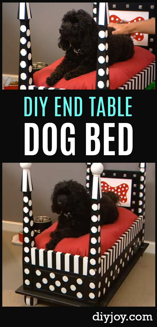 DIY Dog Beds - DIY End Table Dog Bed - Projects and Ideas for Large, Medium and Small Dogs. Cute and Easy No Sew Crafts for Your Pets. Pallet, Crate, PVC and End Table Dog Bed Tutorials http://diyjoy.com/diy-dog-beds